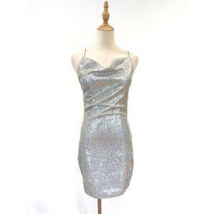 Fashion Nova Silver Sequined Dress Lead the Way